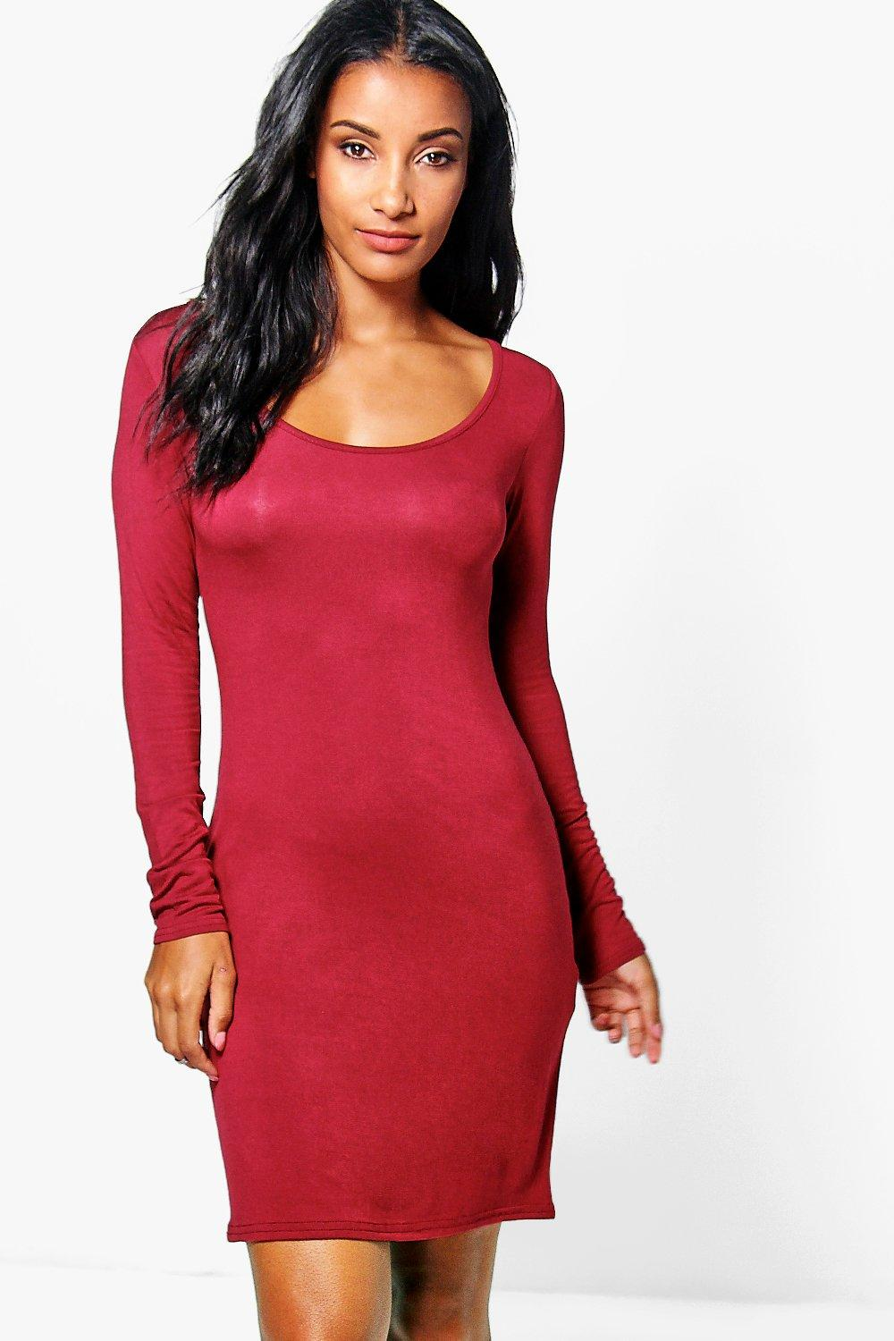 Emi Long Sleeved Scoop Neck Bodycon Dress