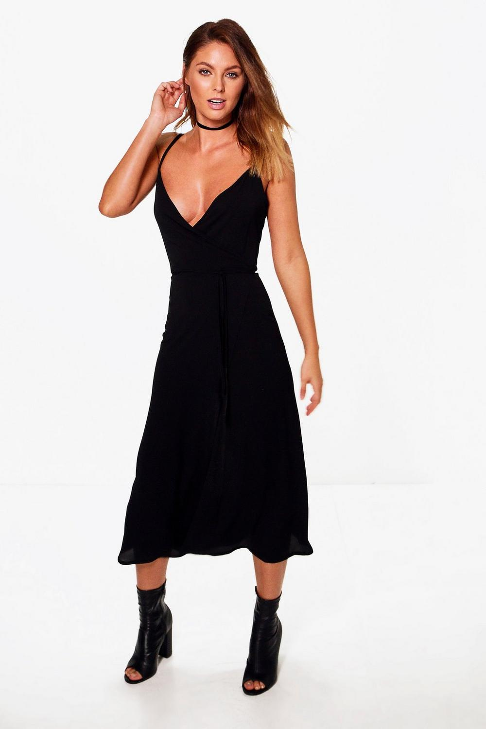 Chiara Wrap Tie Side Midi Dress