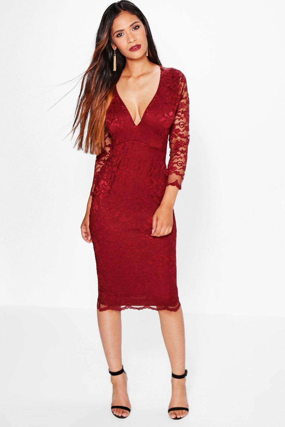 Cat All Over Scallop Lace Midi Bodycon Dress
