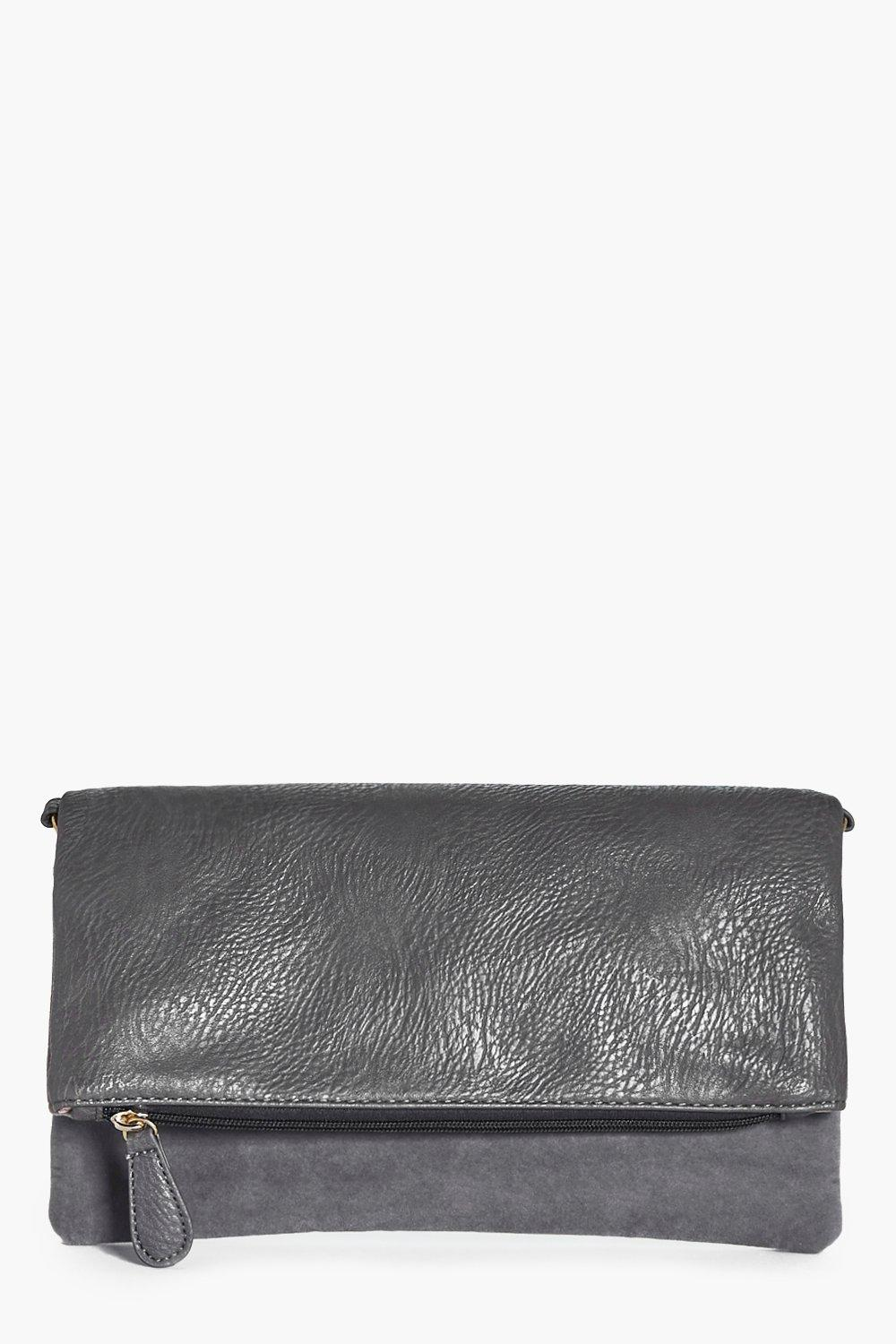 Freya Fold Over Velvet Panel Clutch