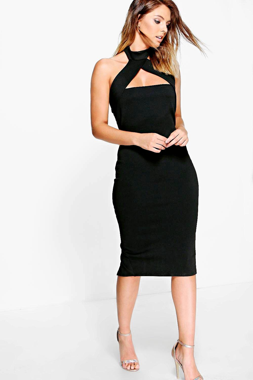 Tabitha High Neck Cross Strap Midi Dress