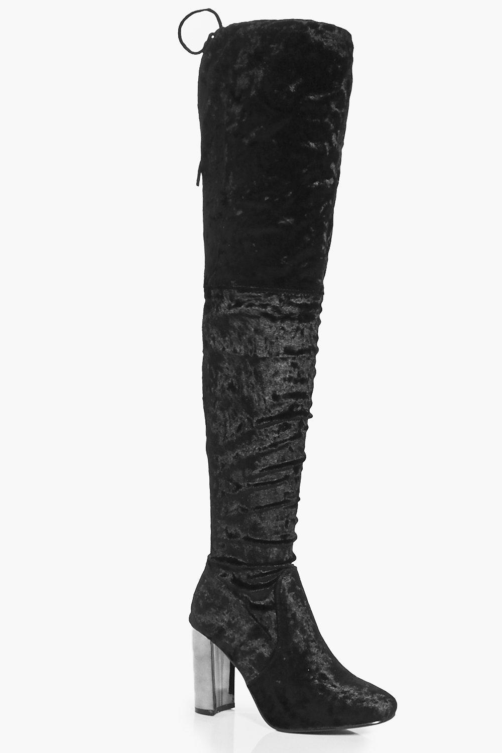 Lydia Velvet Thigh High Block Heel Boot