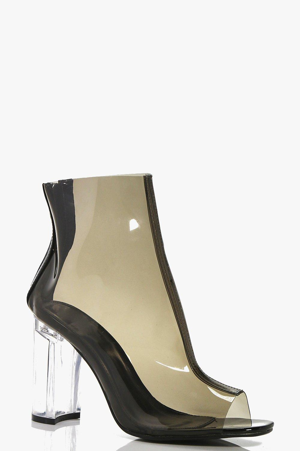Amelia Clear Cylinder Heel Ankle Boot
