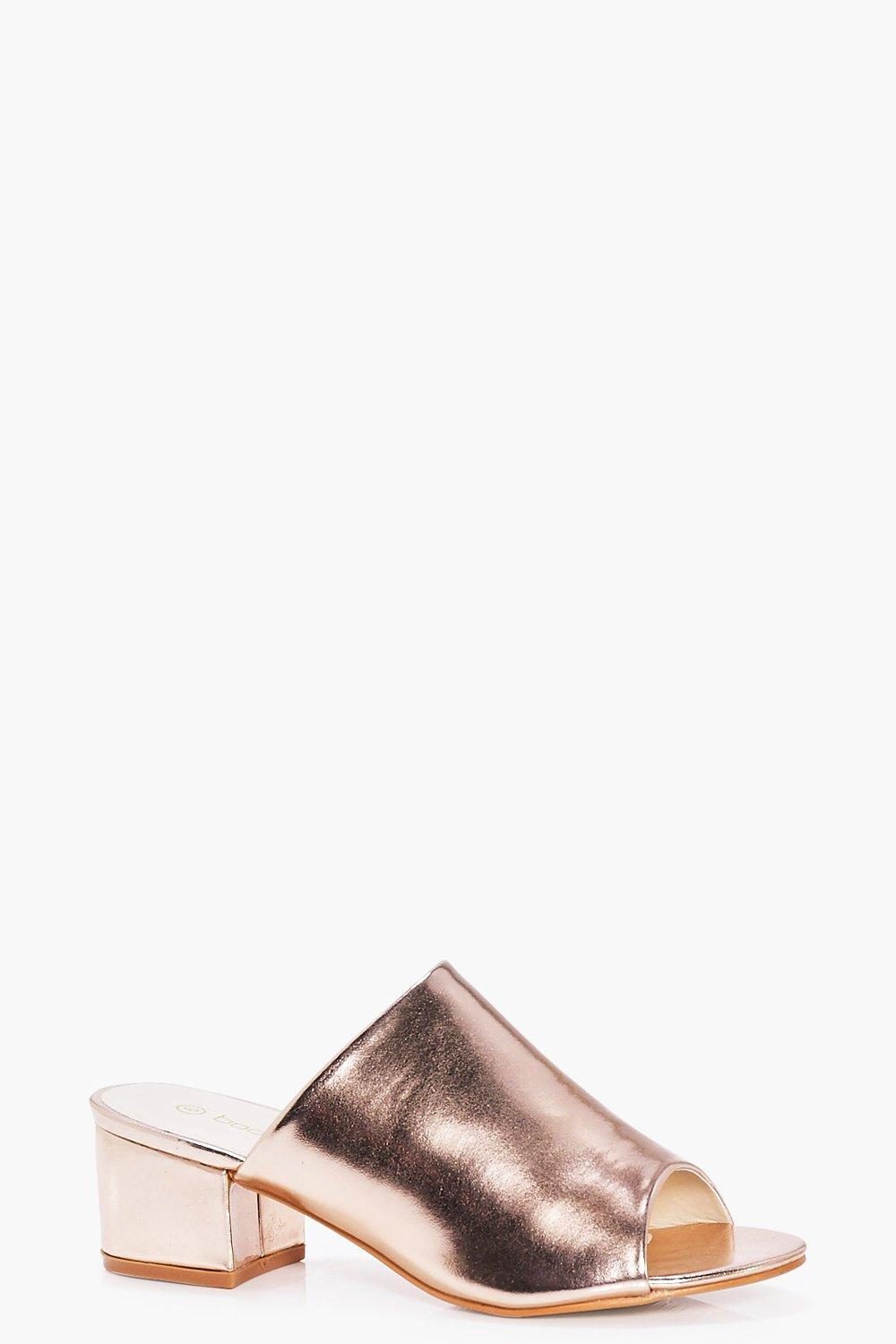 Lydia Wide Fit Metallic Block Heel Mule