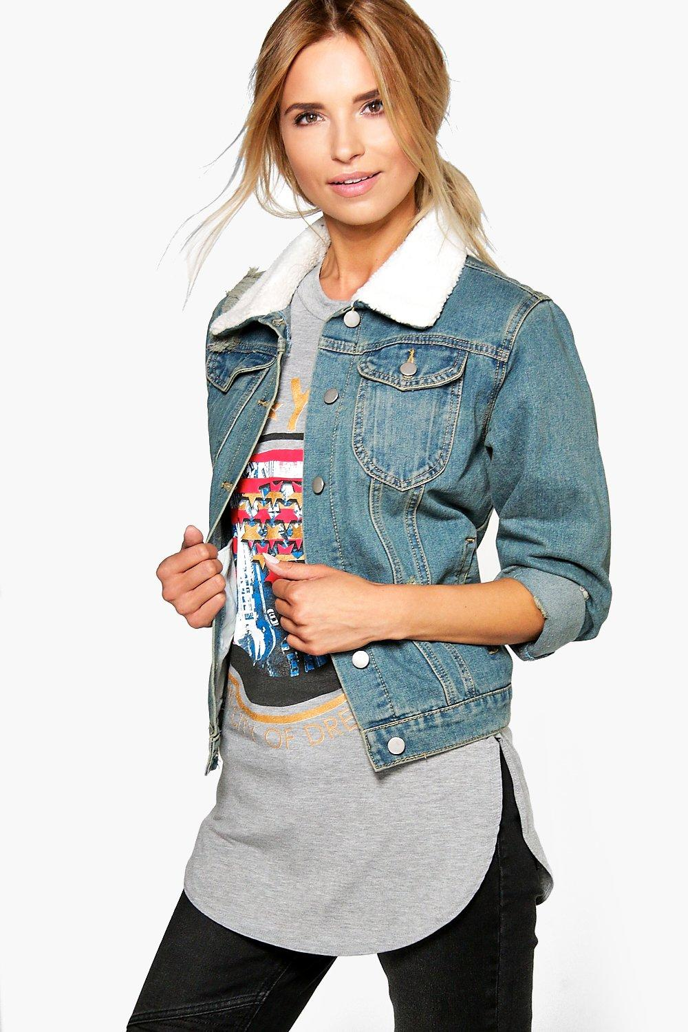 Felicity Distressed Borg Collar Denim Jacket