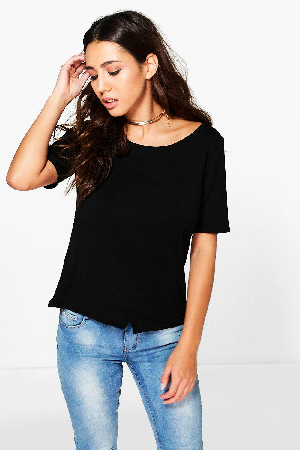 Heather Wrap Front Side Split T-Shirt