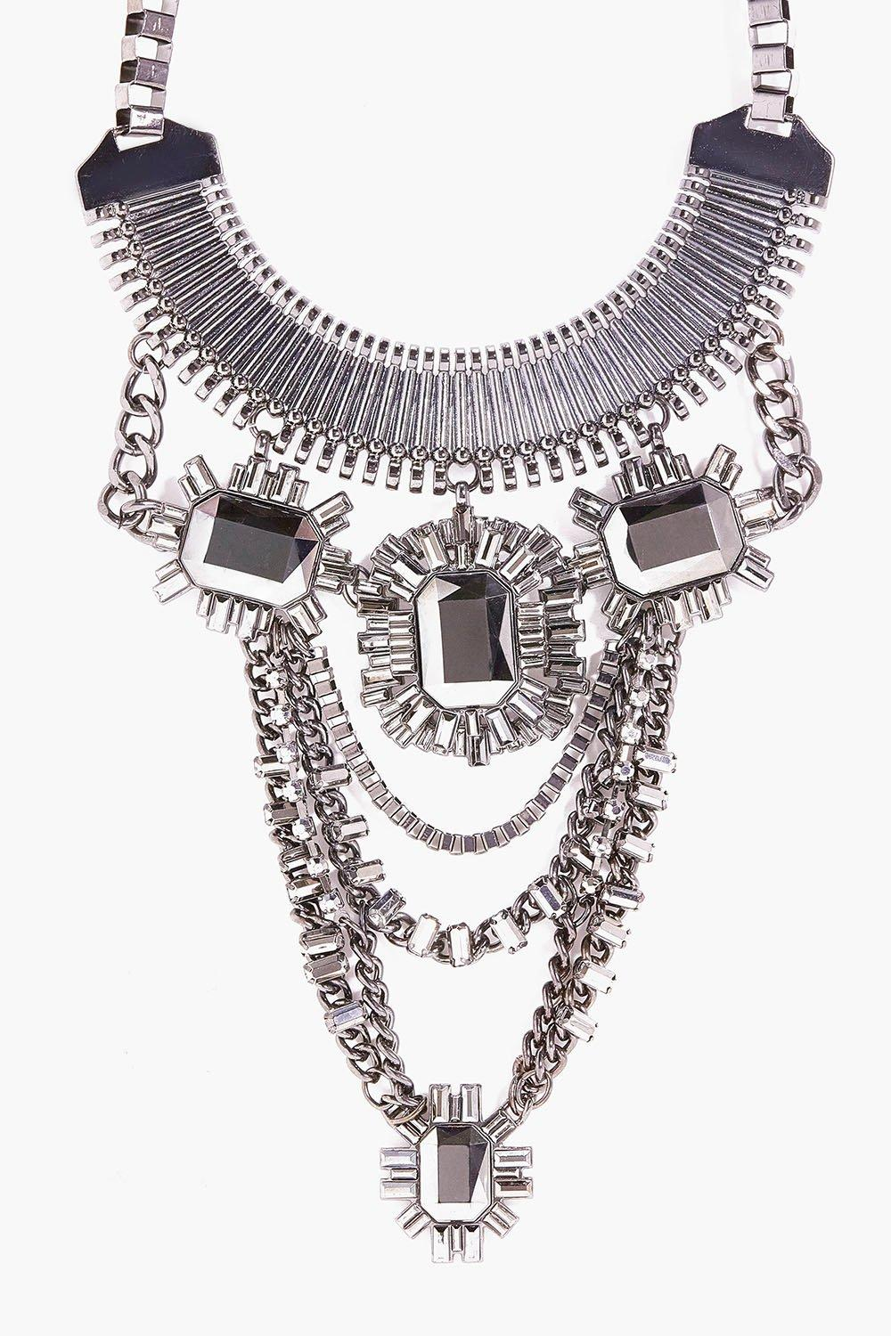Mya Embellished Chain Statement Necklace