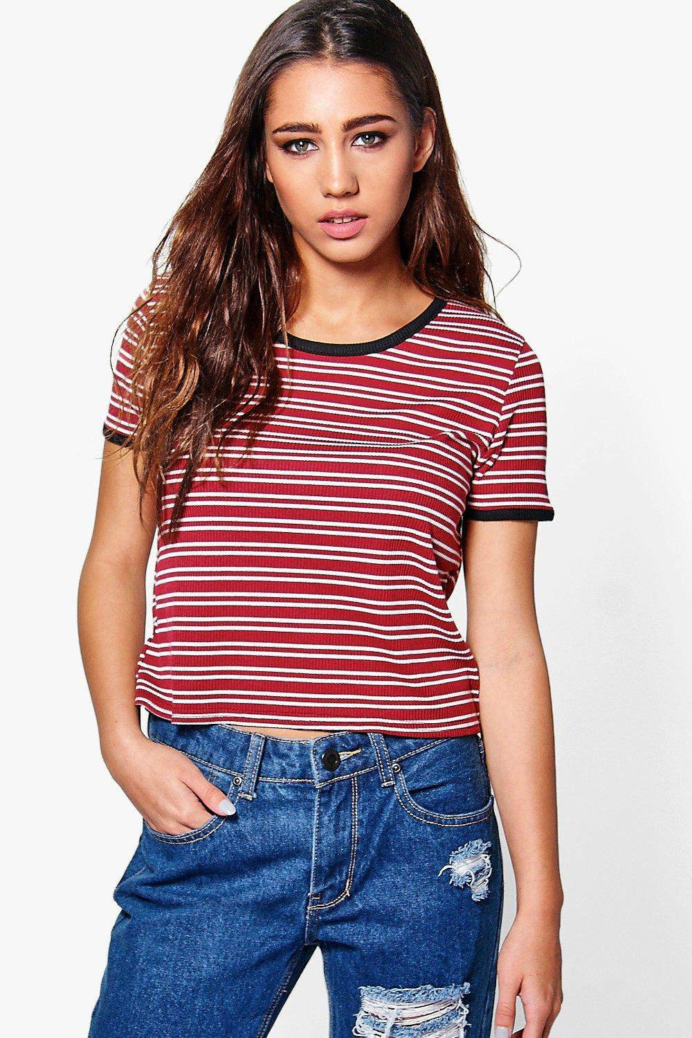 Emilia Striped Rib Ringer T-Shirt