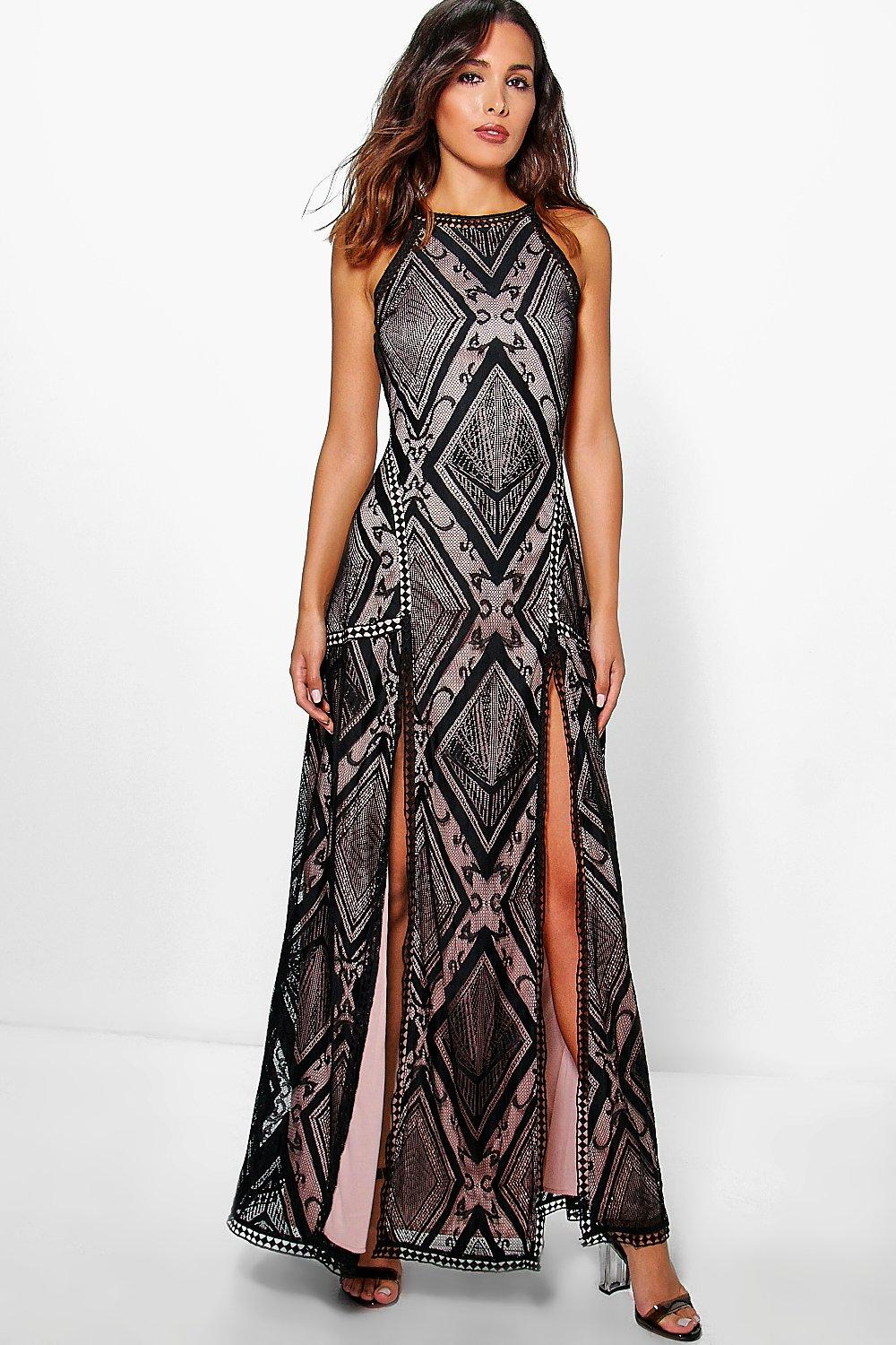 Boutique Zahiah Lace Open Back Maxi Dress