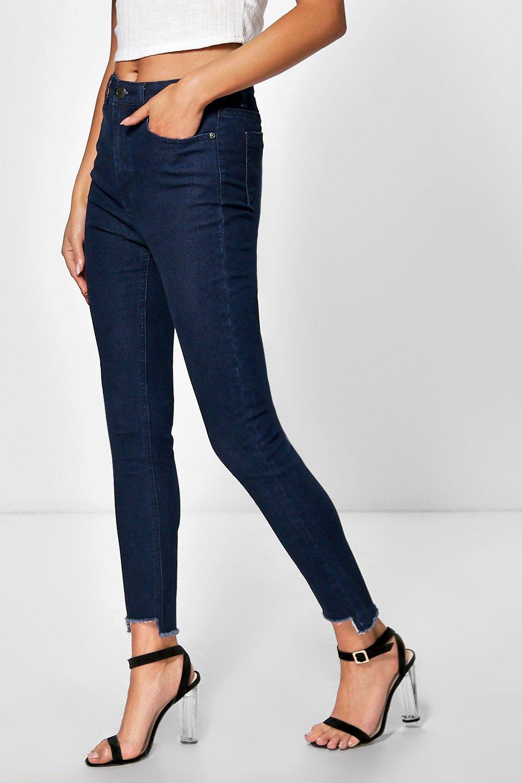 Jayne Step Hem High Waisted Slim Leg Jeans at boohoo.com