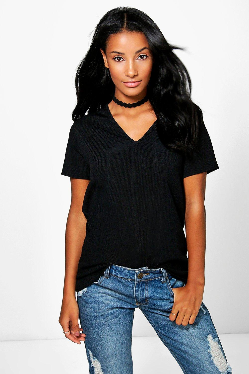 Milicent V Neck Ribbed T-Shirt