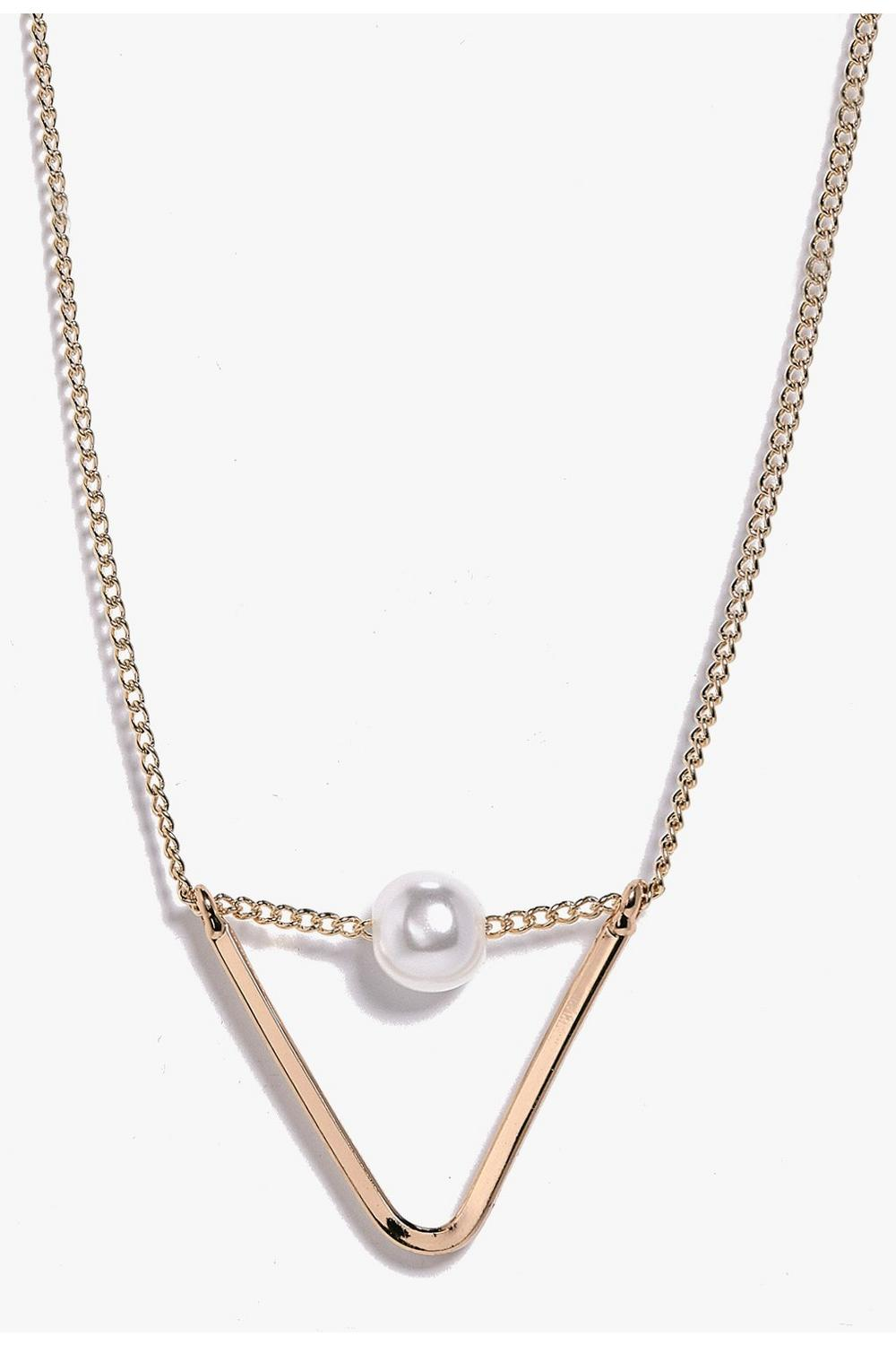 Sarah Triangle Pearl Pendant Skinny Necklace