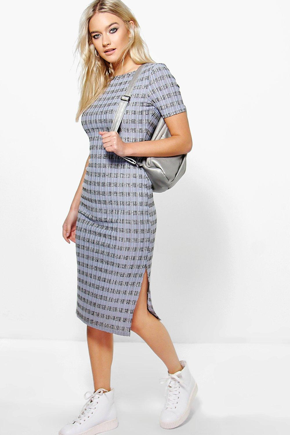 Elisha Striped Ribbed Midi Dress