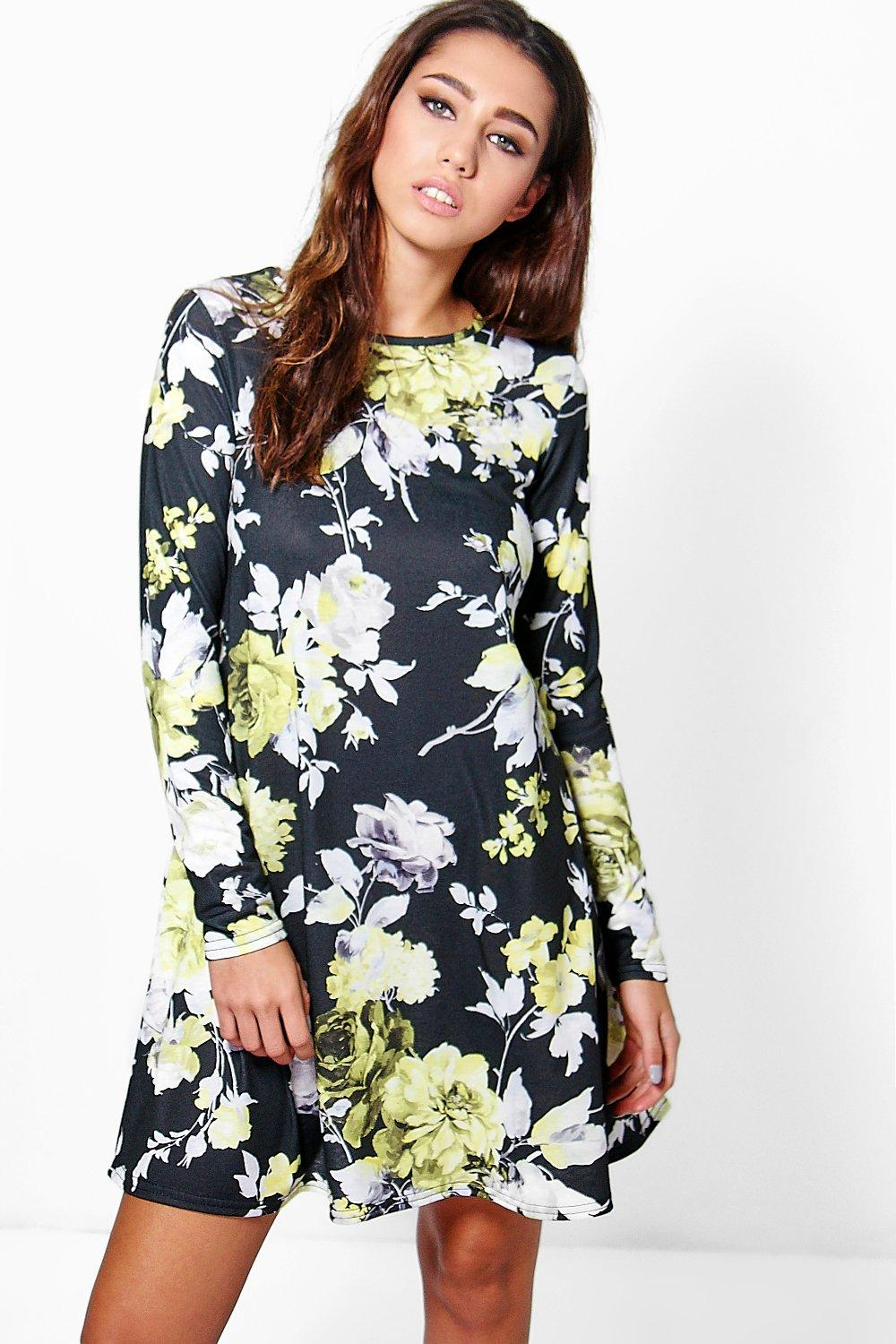 Bianca Long Sleeve Floral Swing Dress