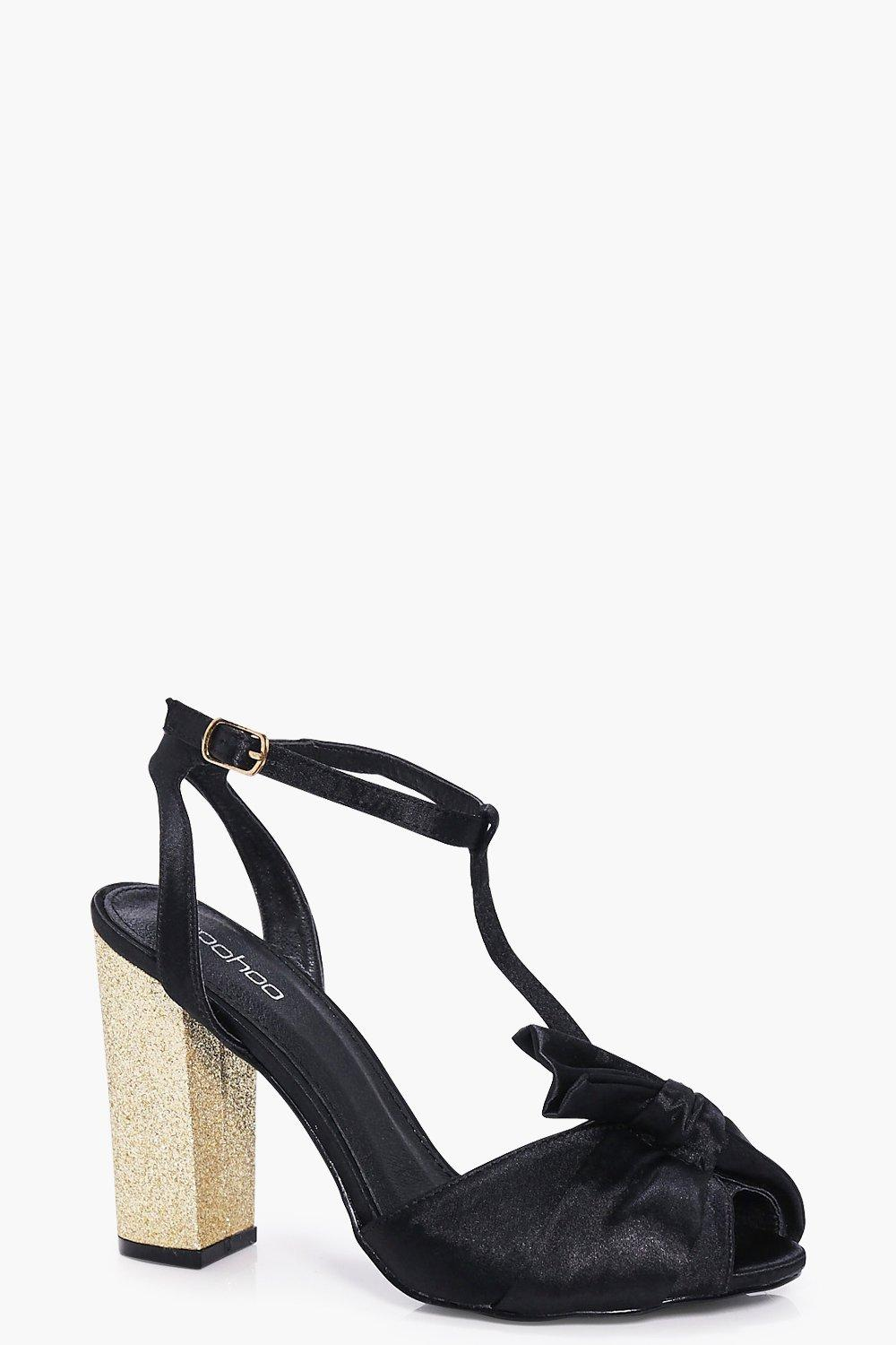 Rachel Wrap Front T Bar Block Heel