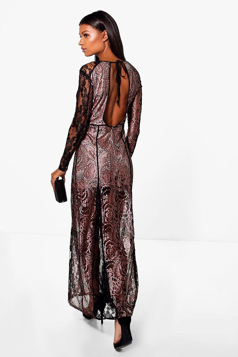 Boutique Aggie Open Back Lace Maxi Dress