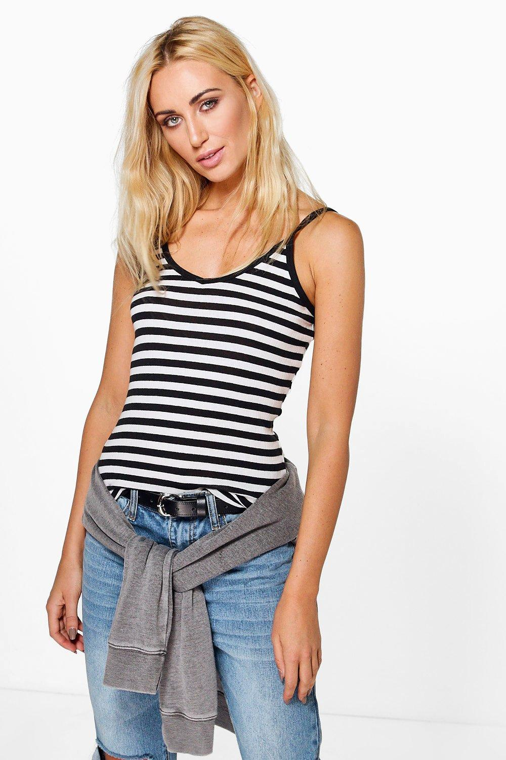 Natasha Striped Rib Vest
