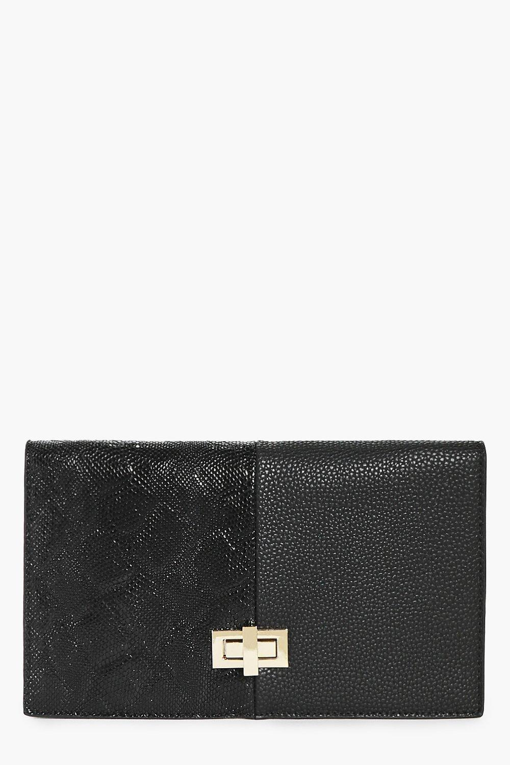 Anya Turn Lock Mixed Texture Clutch Bag
