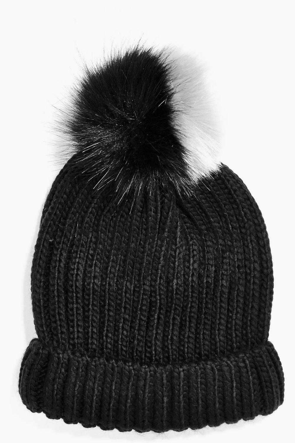 Mya Two Tone Faux Fur Pom Beanie Hat