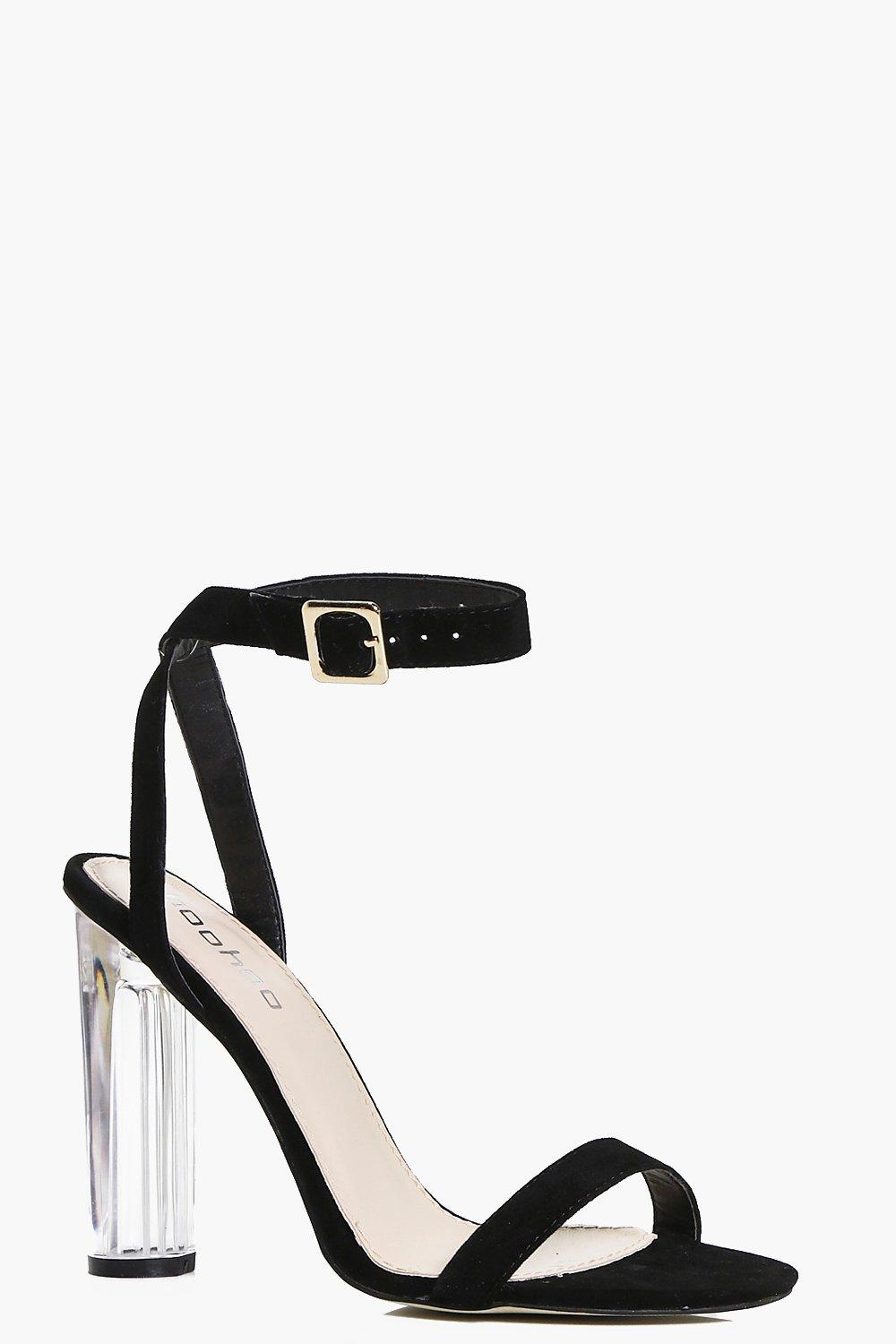 Eva Suedette Two Part Clear Cylinder Heels