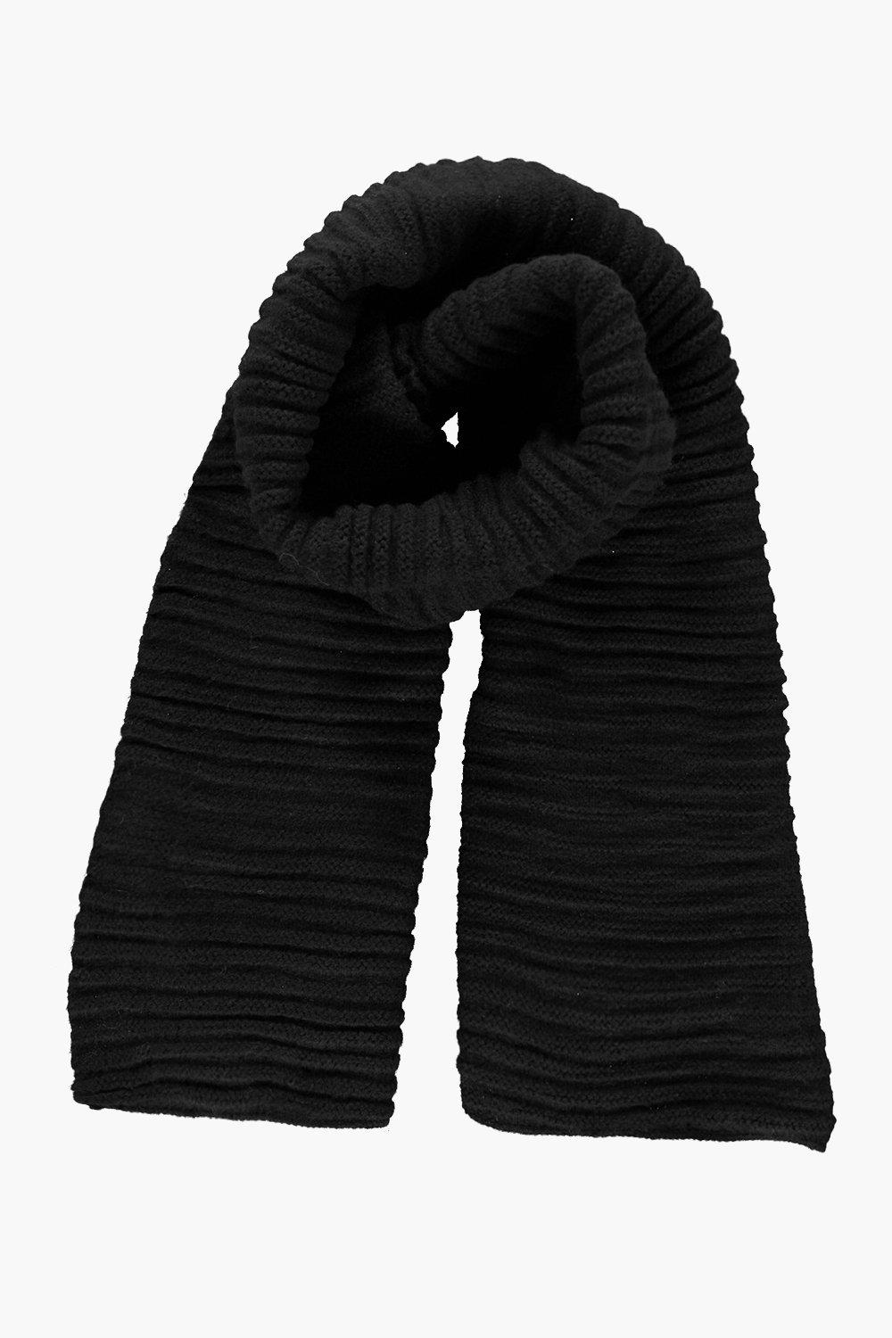Ebony Super Chunky Rib Knit Scarf
