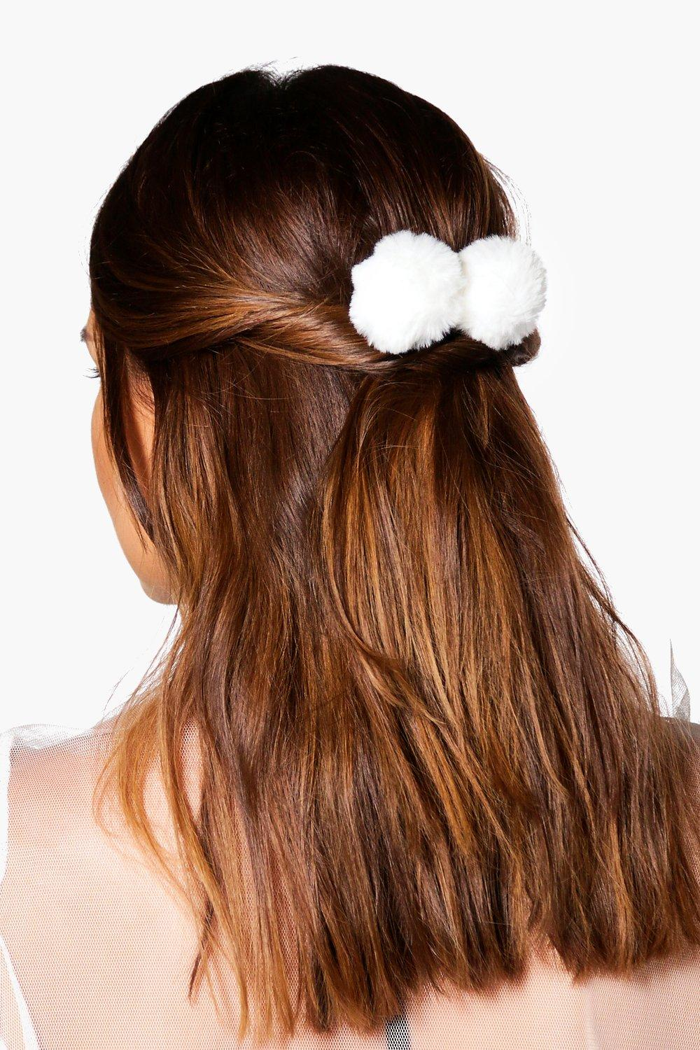 Frances Faux Fur Pom Hair Clip