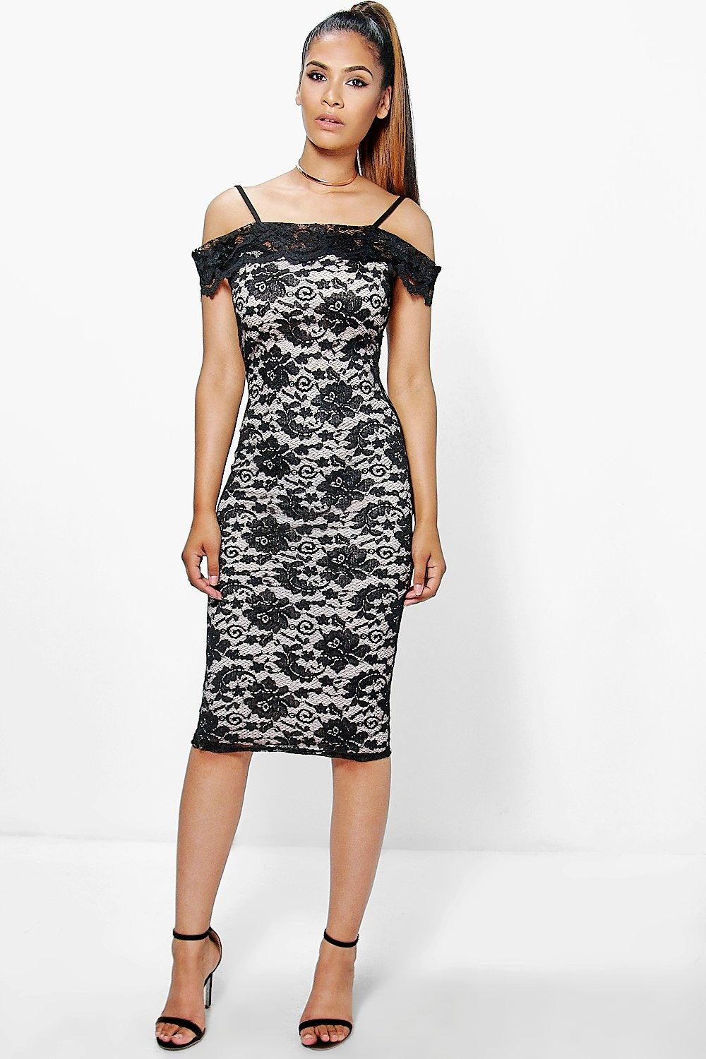 Becky Cold Shoulder All Lace Midi Dress