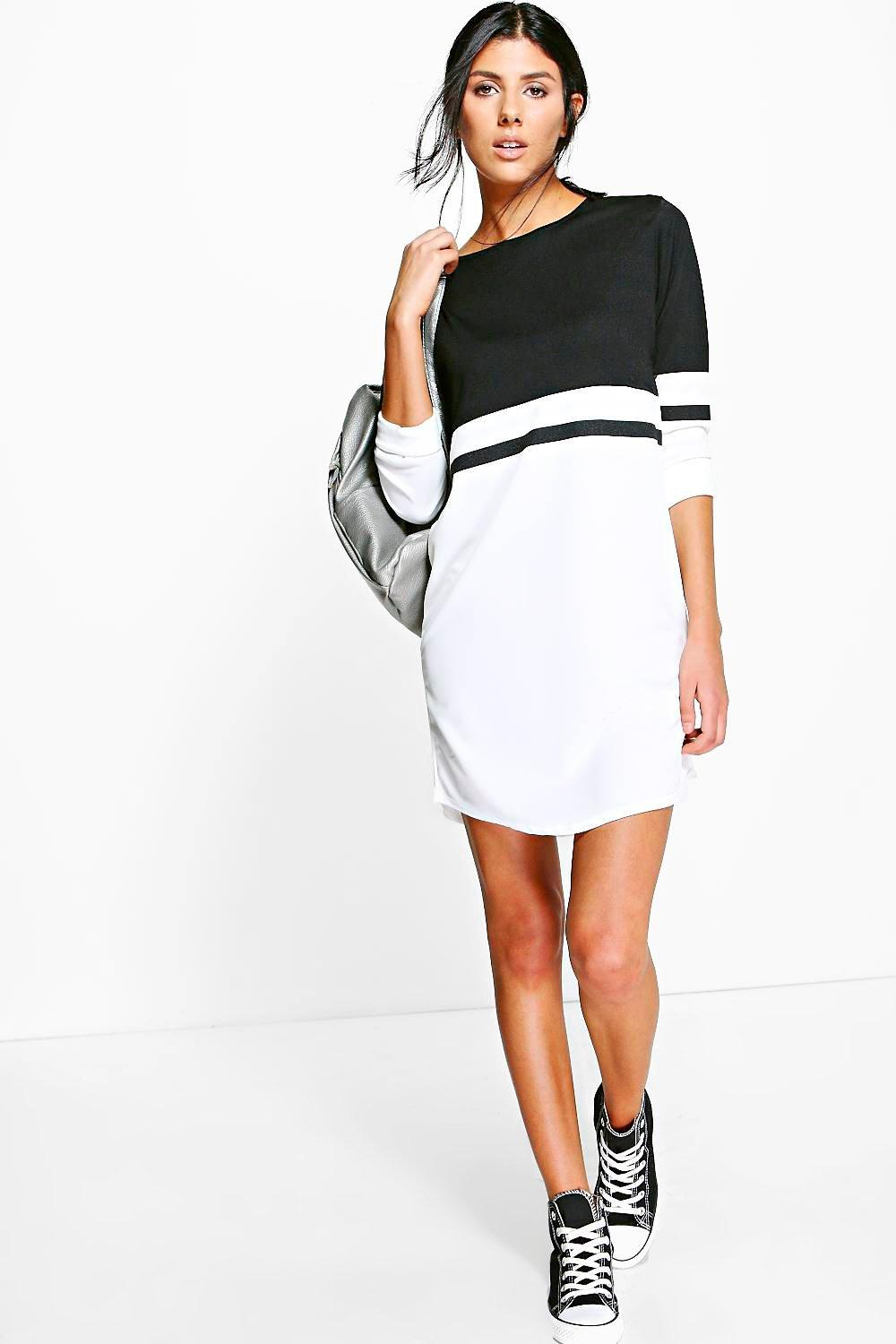 Odel Long Sleeve Colour Block Shift Dress