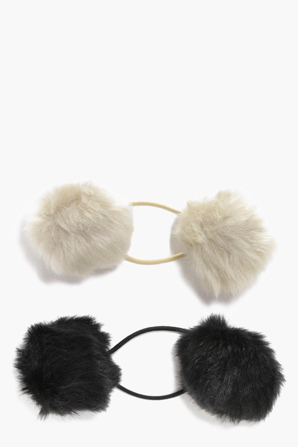 Lily Faux Fur Double Pom Bobble 2 Pack