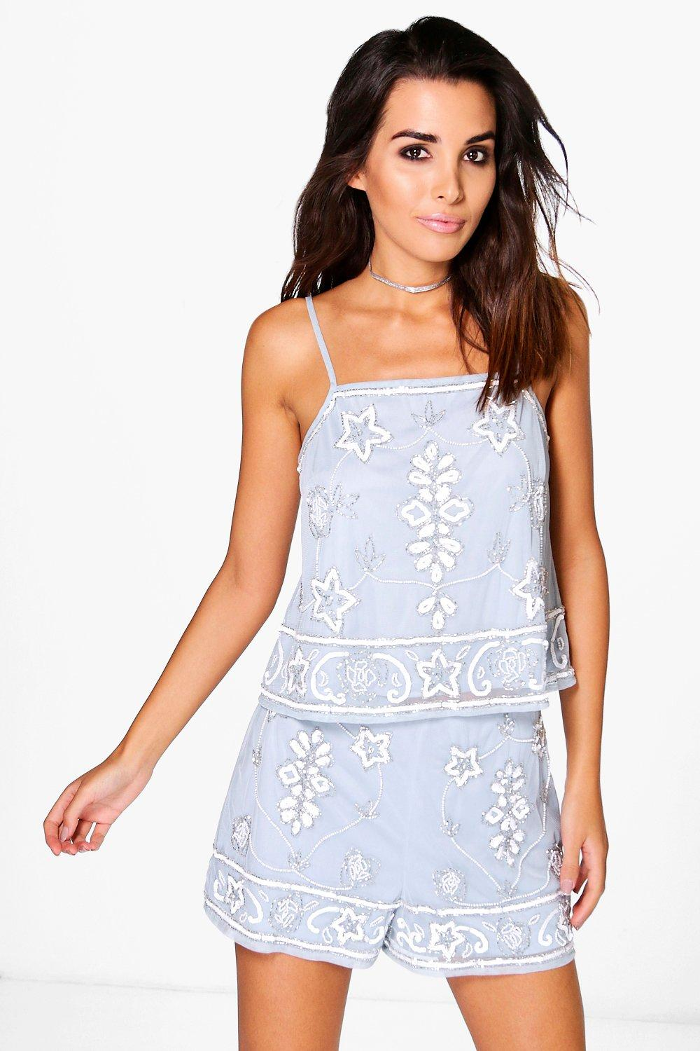 Eva Embellished Crop Top And Short Co-Ord Set