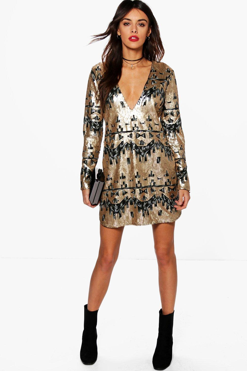 Boutique Reem Sequin Plunge Shift Dress