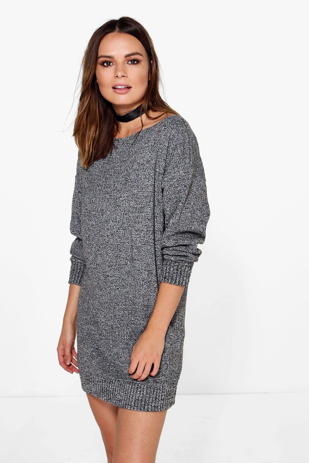 Faith Marl Slash Neck Jumper Dress
