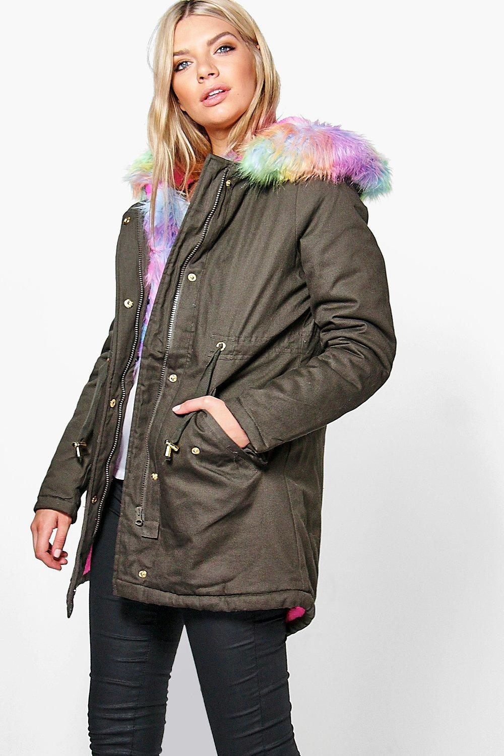 Holly Multi-Colour Faux Fur Parka