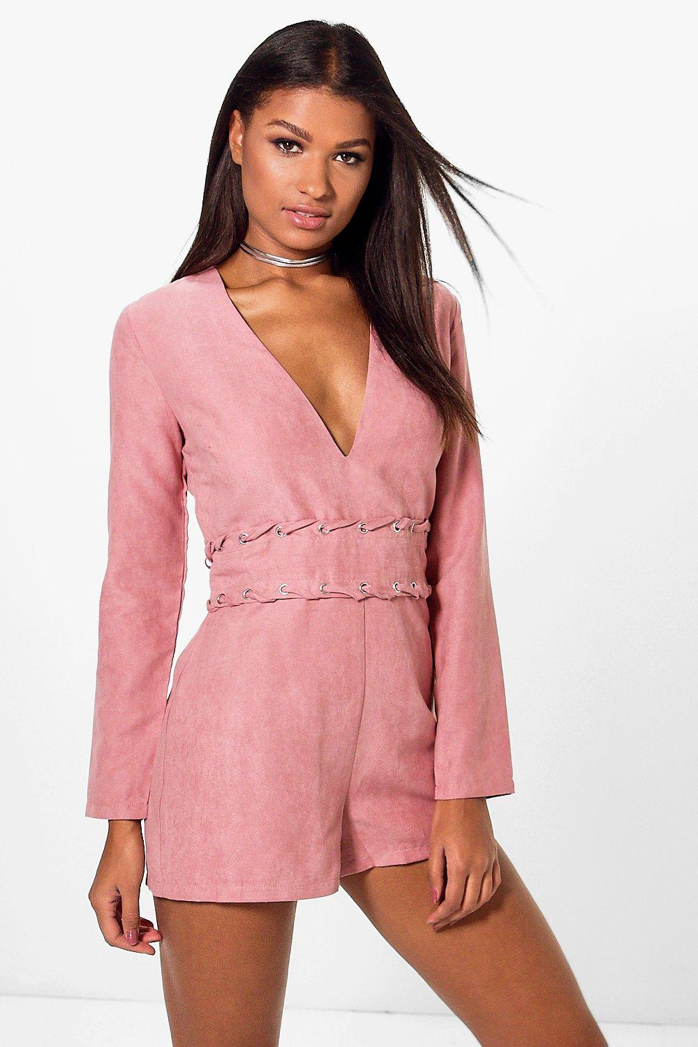 Kim Long Sleeve Plunge Neck Suedette Playsuit