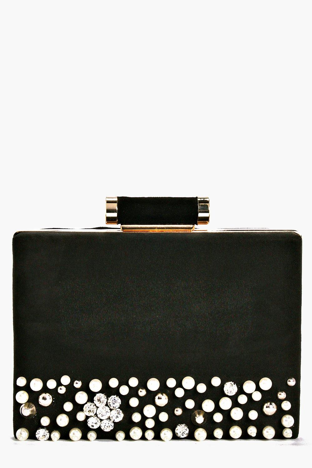 Mae Boutique Pearl Velvet Box Clutch Bag