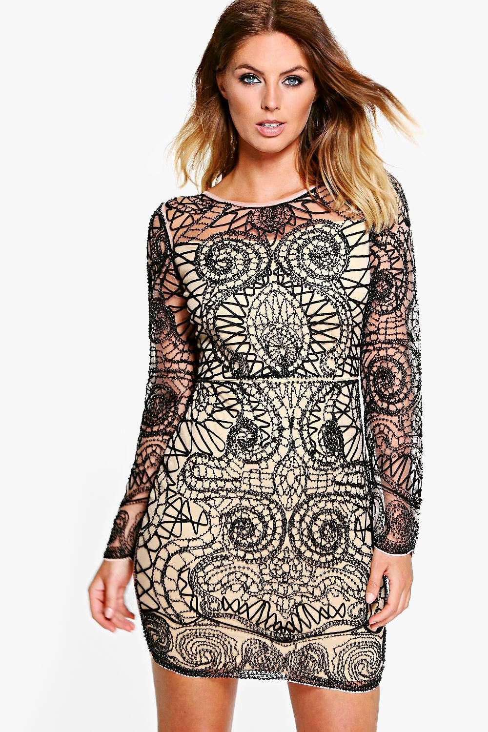 Boutique Jourdan Embellished Bodycon Dress
