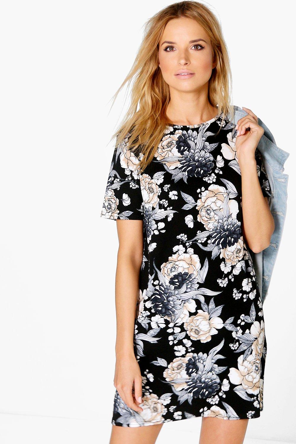 Bridget Floral Printed 3/4 Sleeve Shift Dress