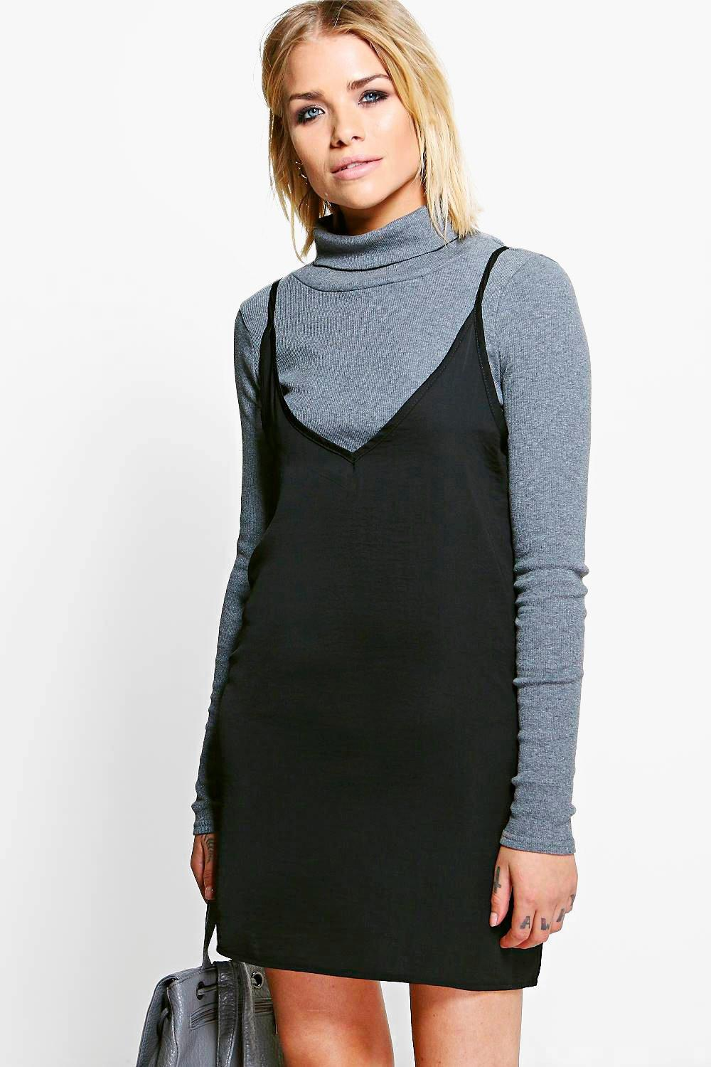 Image result for Rima 2 in 1 Cami with High Neck Slip Dress