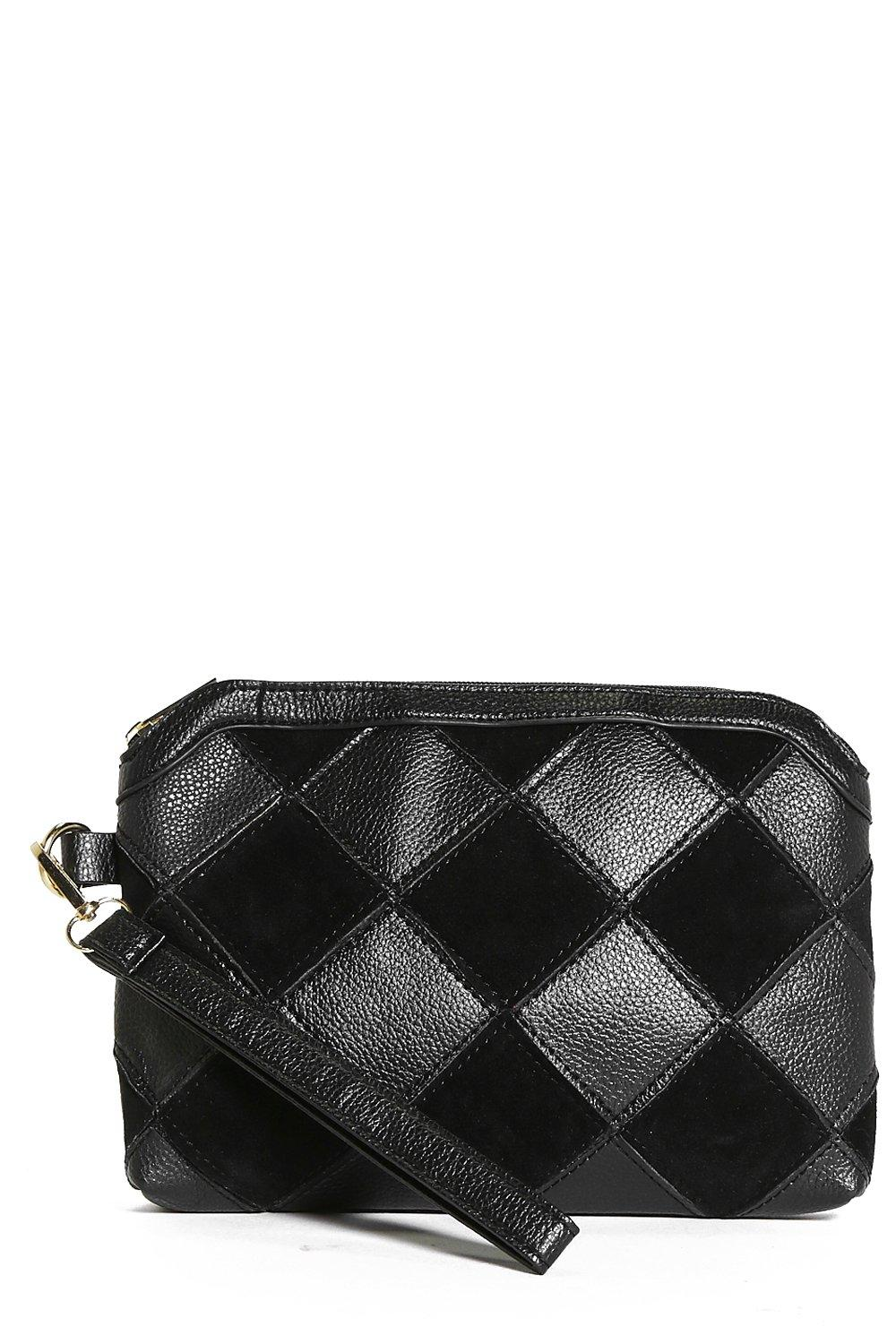 Alexis Patchwork Zip Top Clutch Bag