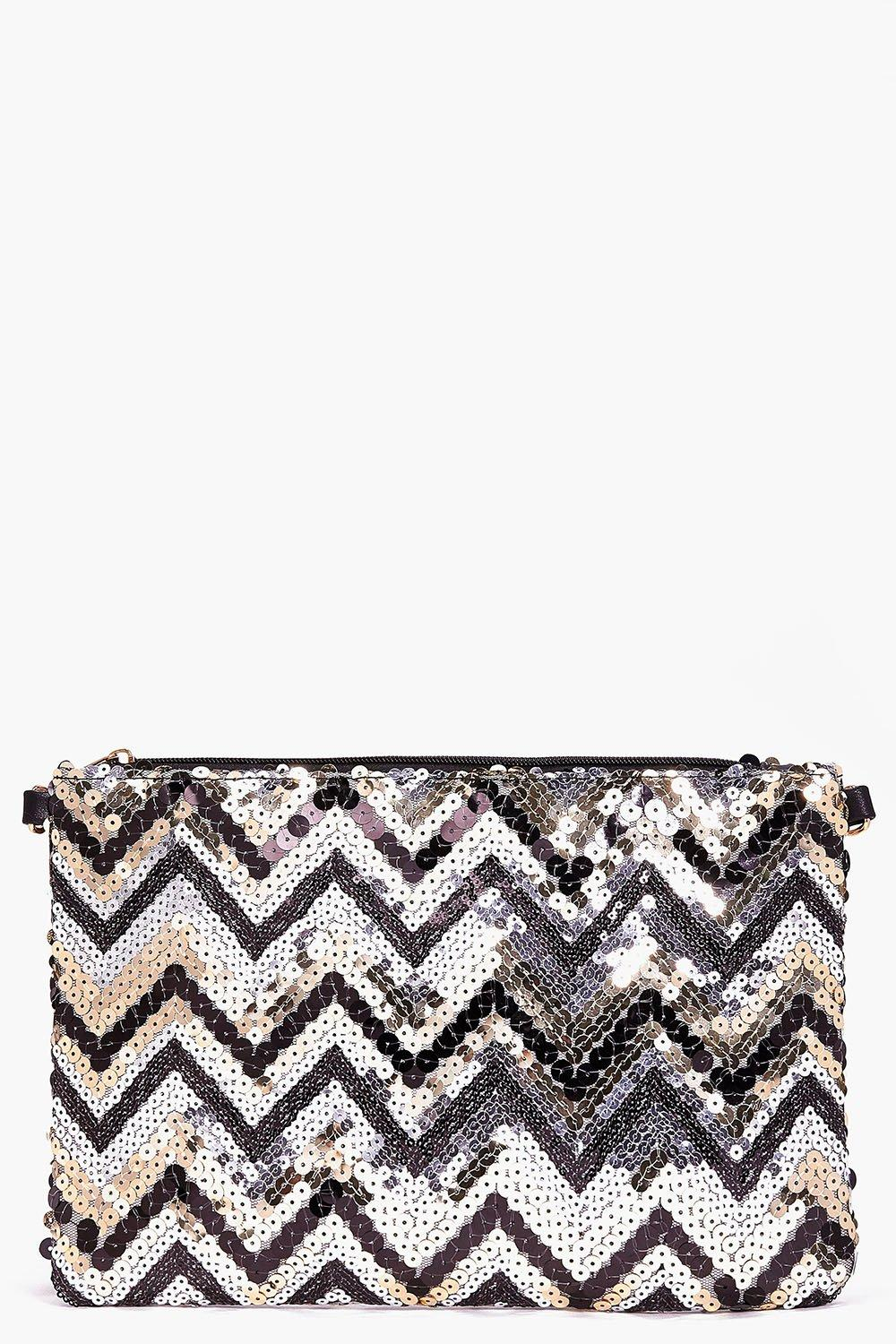 Keira Chevron Sequin Zip Top Clutch Bag