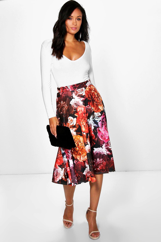 Dalia Autumn Floral Full Midi Skirt at boohoo.com