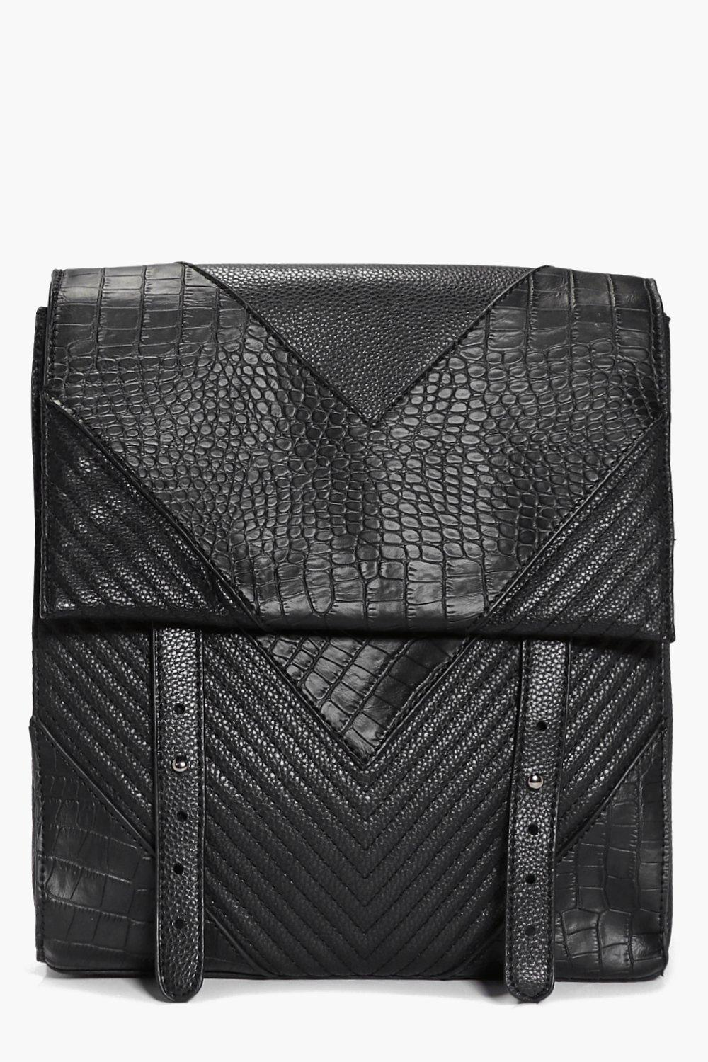 Skye Mock Croc and Quilted Backpack