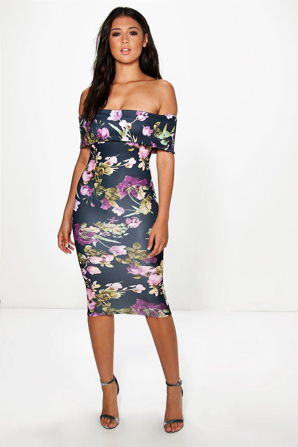 Dea Oversized Off The Shoulder Midi Dress