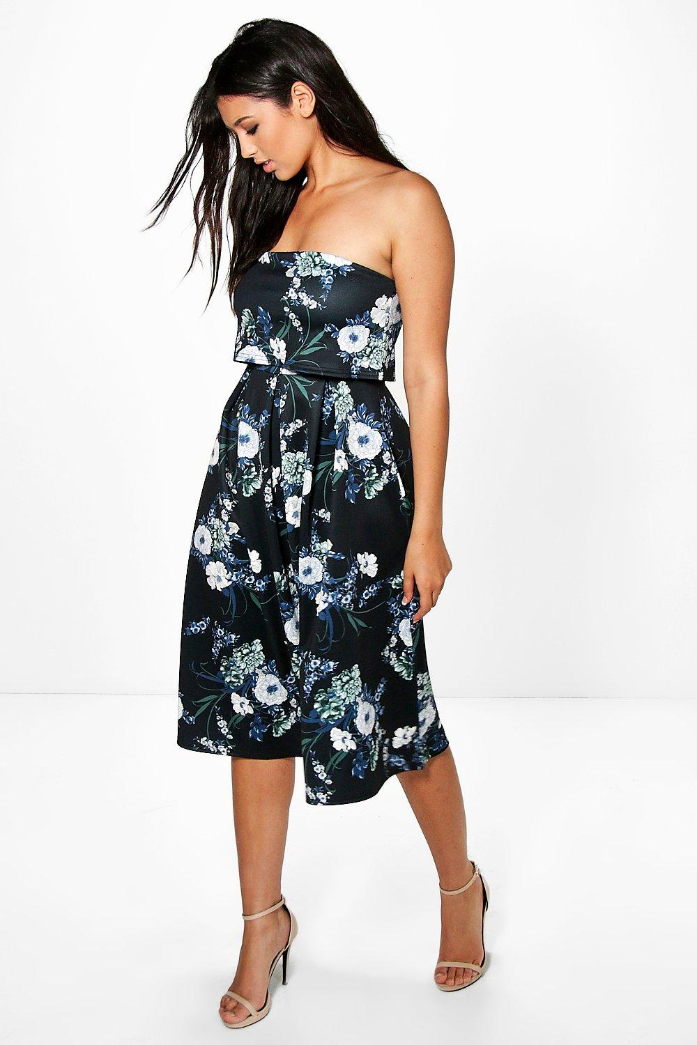 Ari Double Layer Bandeau Midi Skater Dress