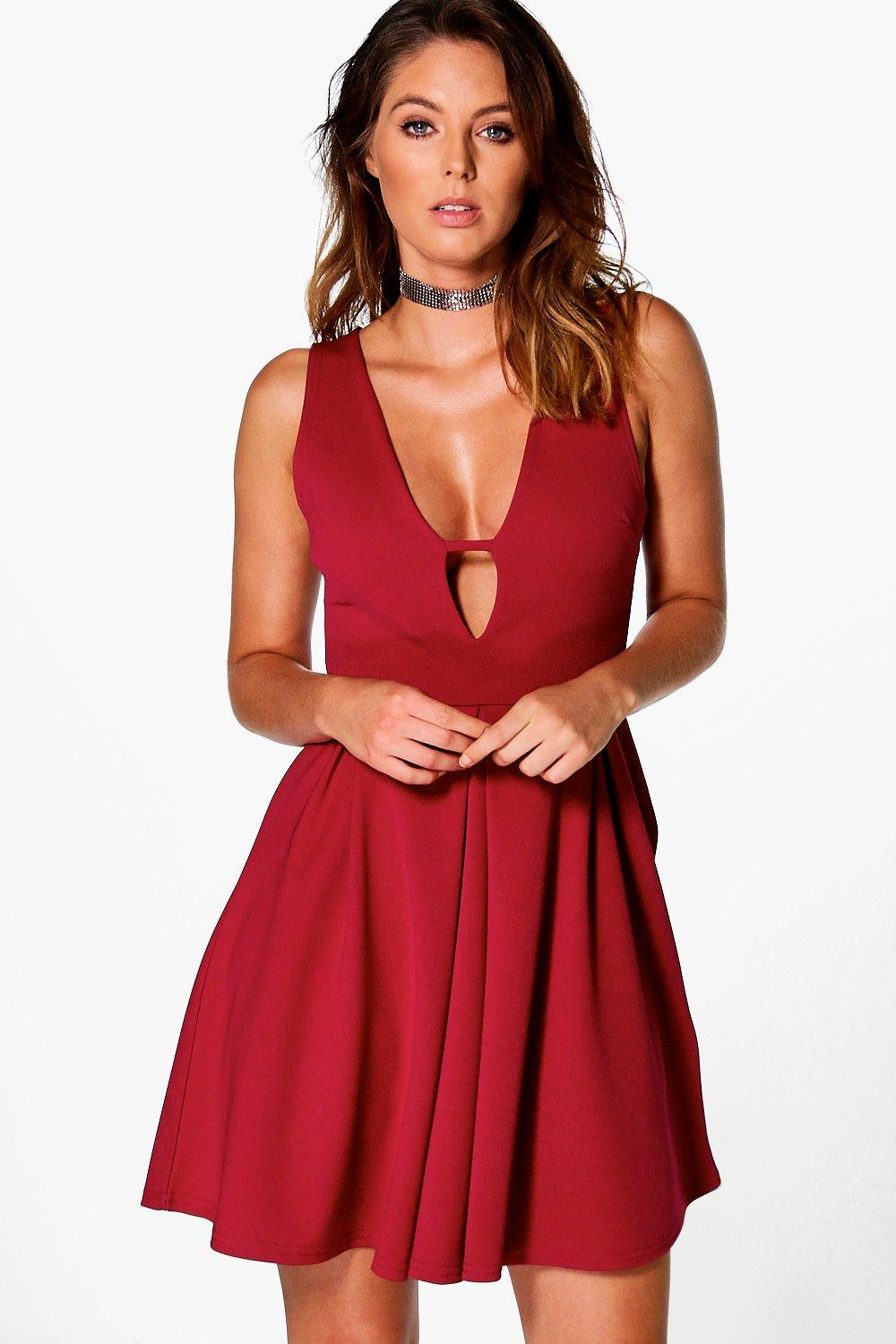 Caitriona Plunge Neck Skater Dress