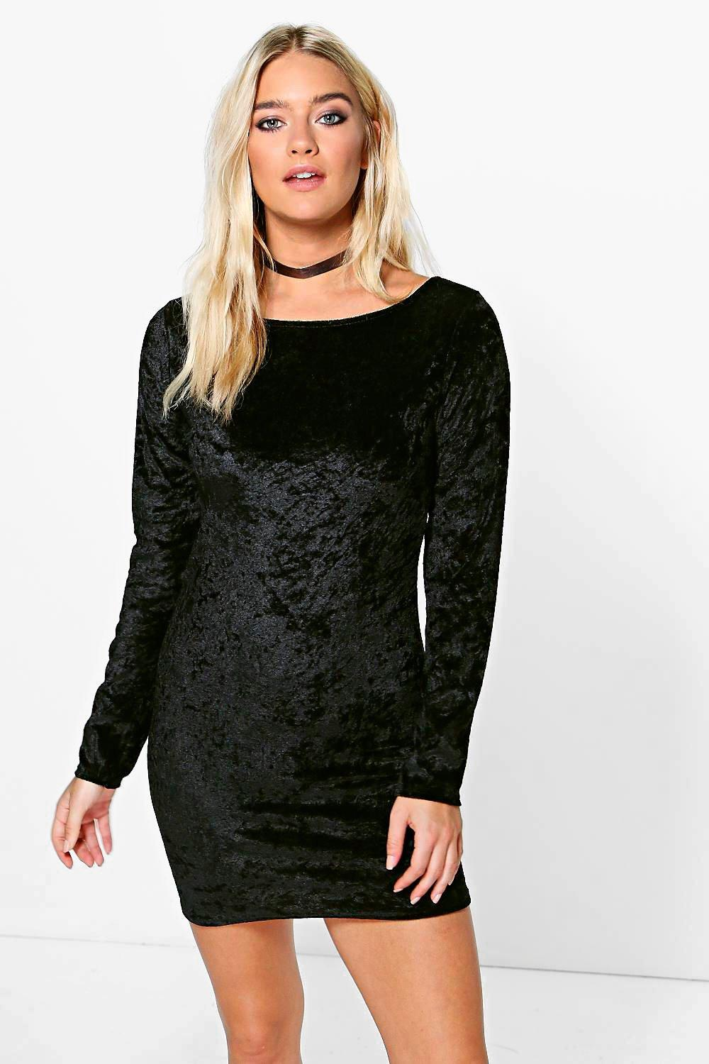 Layla Long Sleeved Velvet Bodycon Dress