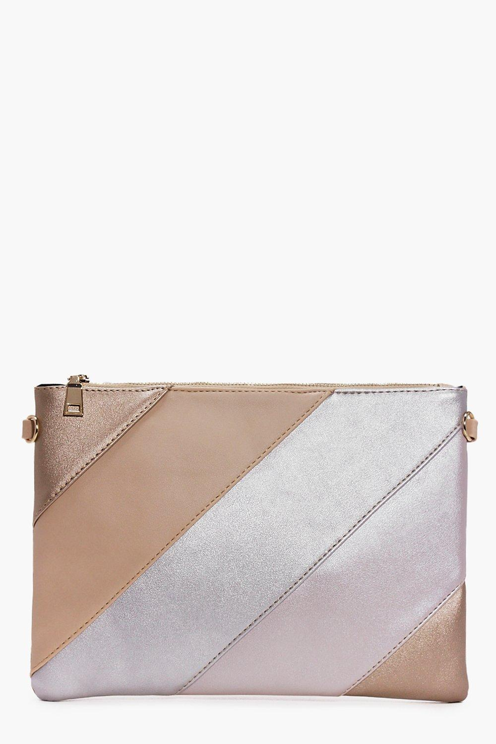 Rose Panelled Metallic Zip Top Clutch Bag