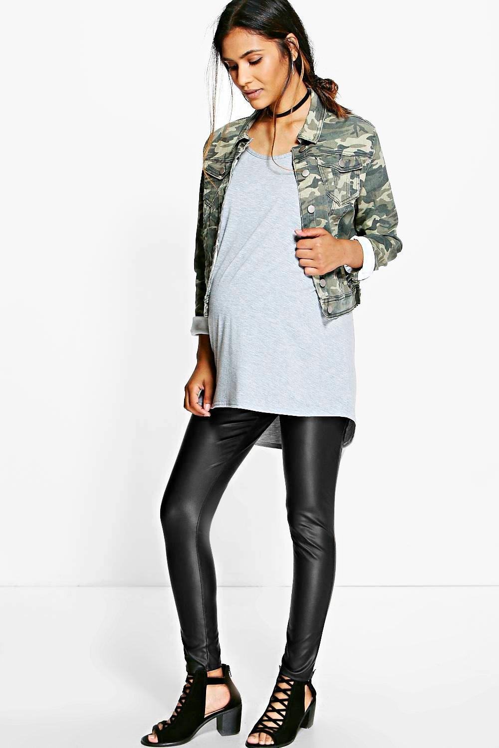 Maternity Harlow Leather Look Over The Bump Leggings