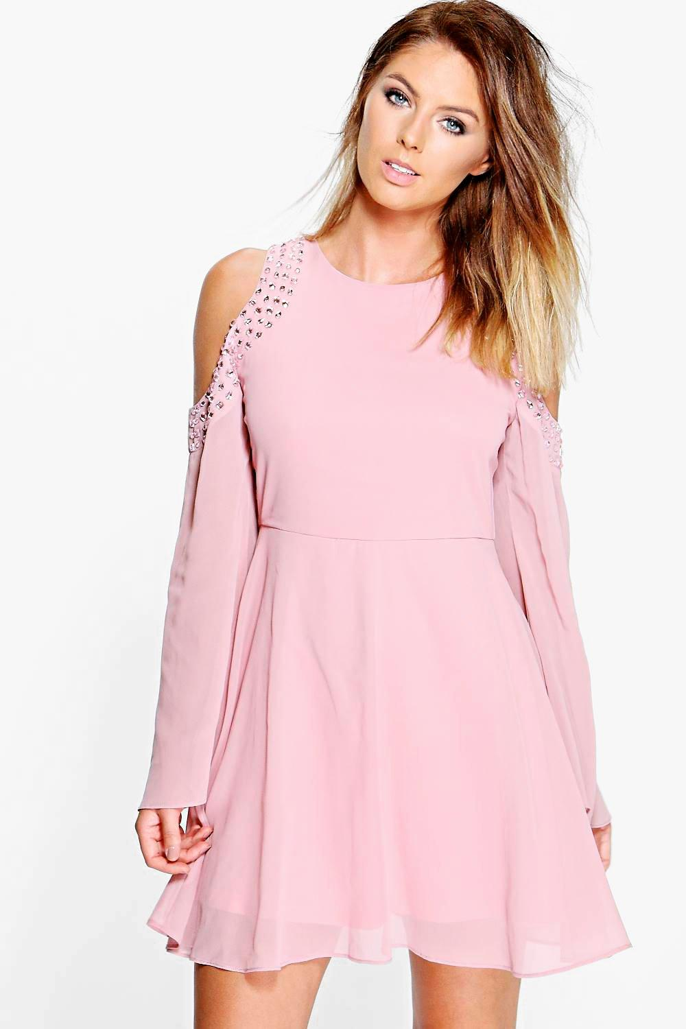Florence Embellished Open Shoulder Skater Dress