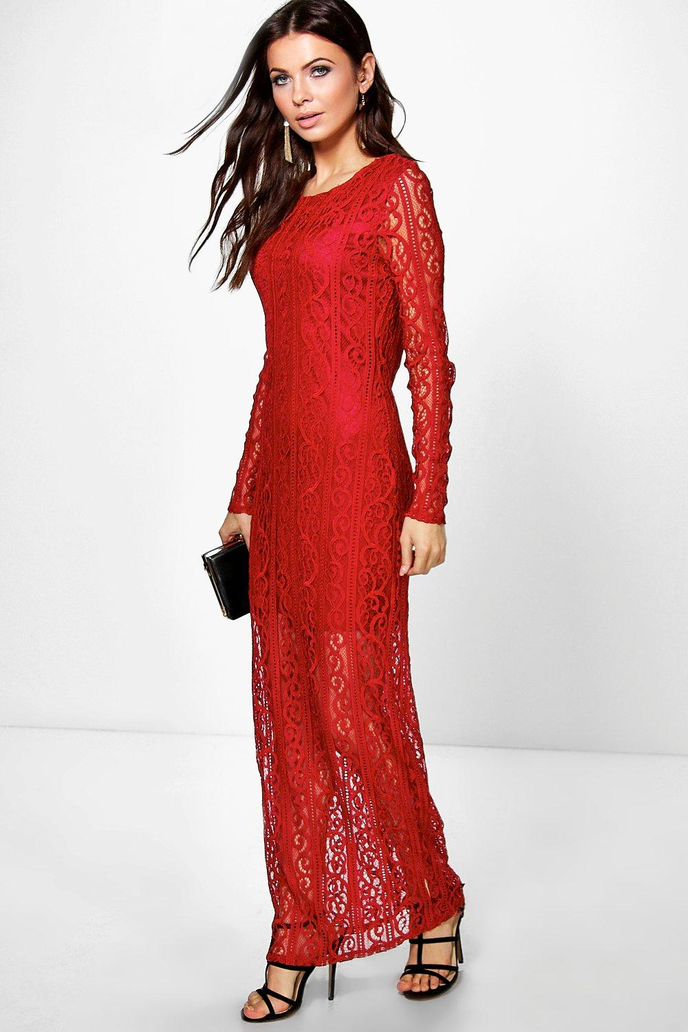 Ella All Over Lace Long Sleeve Midi Bodycon Dress